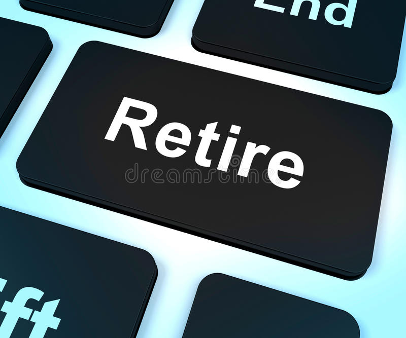 Выбудьте ключевое планирование выхода на пенсию выставок онлайн стоковые изображения