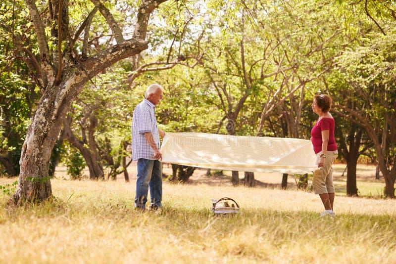 Выбытый человек и женщина пар старший делая пикник стоковое фото