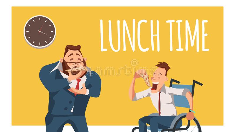 Выведенные из строя сотрудник и работник в костюме имеют обед иллюстрация вектора