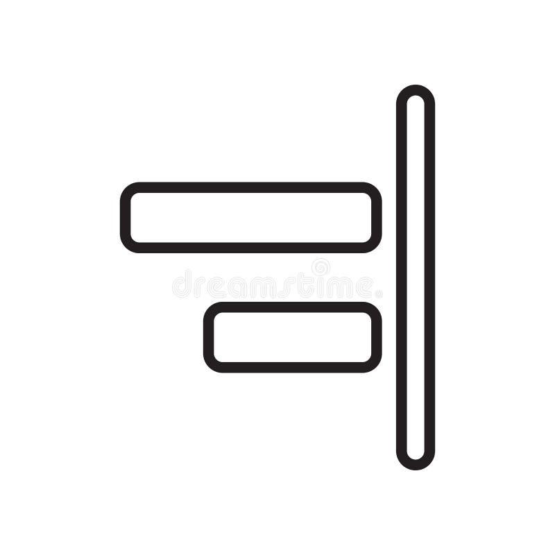 Выведенный знак и символ вектора значка выравнивания изолированные на белом bac бесплатная иллюстрация