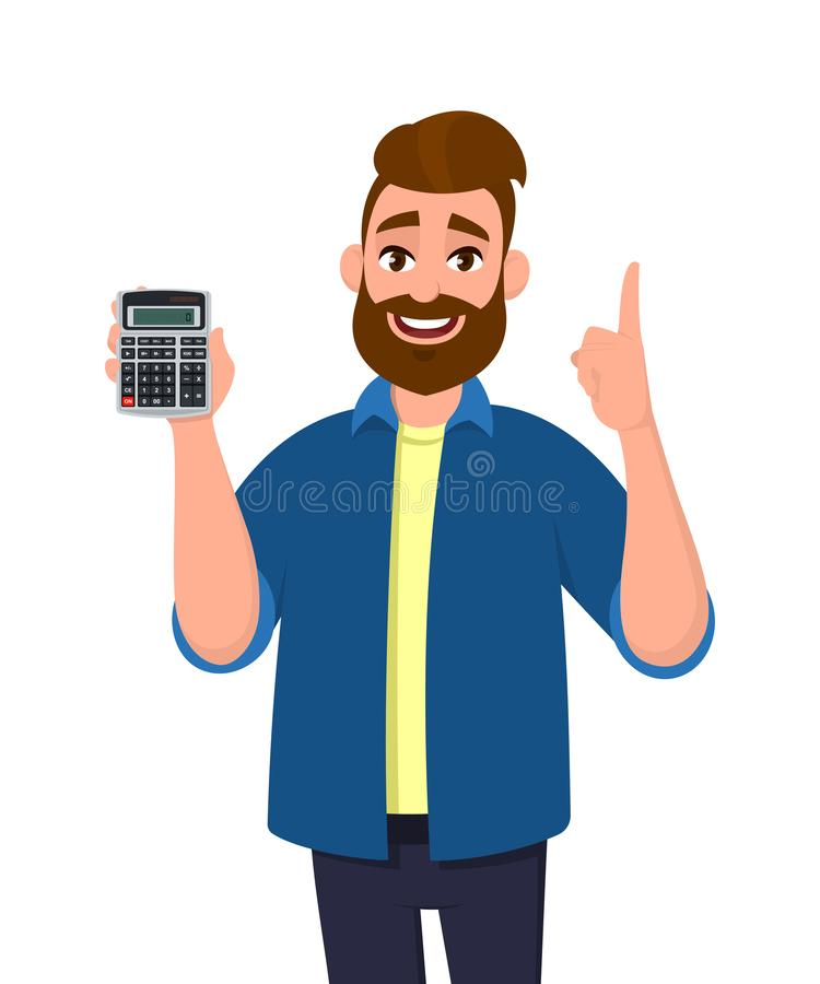 Выведенный из красивый показ молодого человека, держа цифровой прибор калькулятора в руке и показывая жестами, указывающ палец вв иллюстрация штока