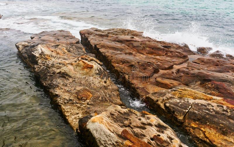 Выветренные утесы песчаника, пляж Bondi, Сидней, Австралия стоковые фотографии rf