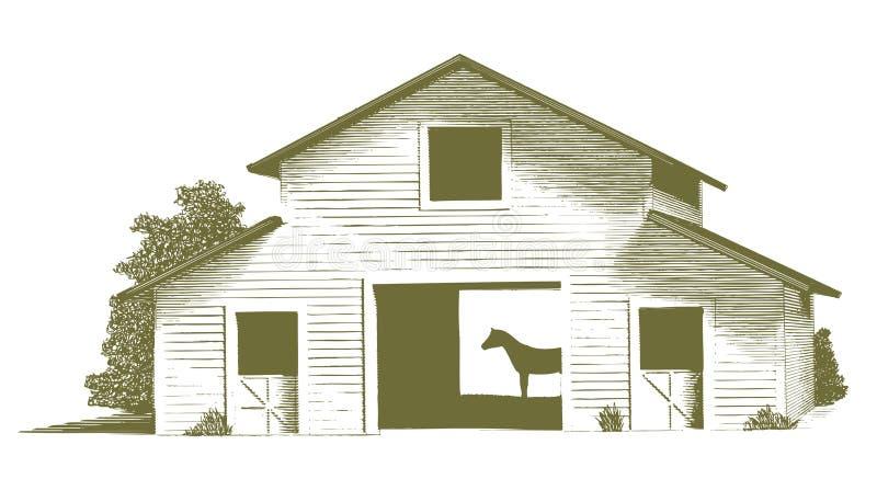 Выгравированная конюшня лошади иллюстрация вектора