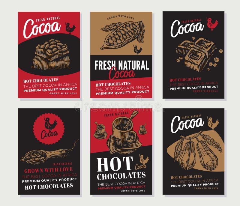 Выгравированное какао собрание плакатов бесплатная иллюстрация