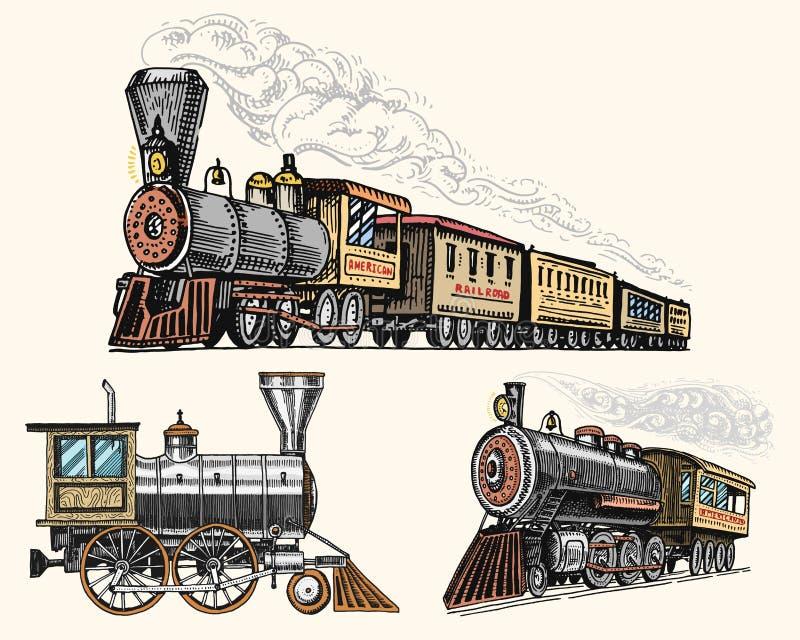 Выгравированный год сбора винограда, локомотив руки нарисованные, старые или поезд с паром на американской железной дороге белизн бесплатная иллюстрация