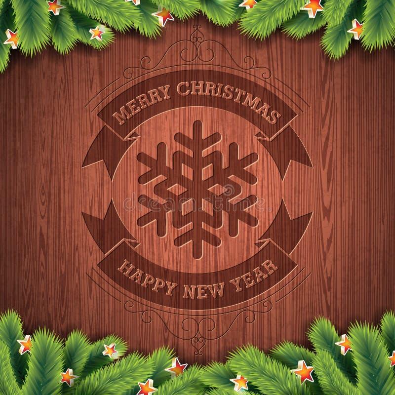 Выгравированный дизайн с Рождеством Христовым и счастливого Нового Года типографский с елью на деревянной предпосылке текстуры бесплатная иллюстрация
