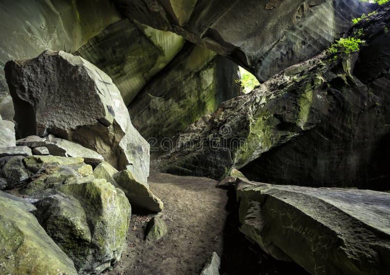 Выдалбливайте Molera, пещеру утеса близко к Malnate и Cagno, Варезе, Италии стоковые фотографии rf