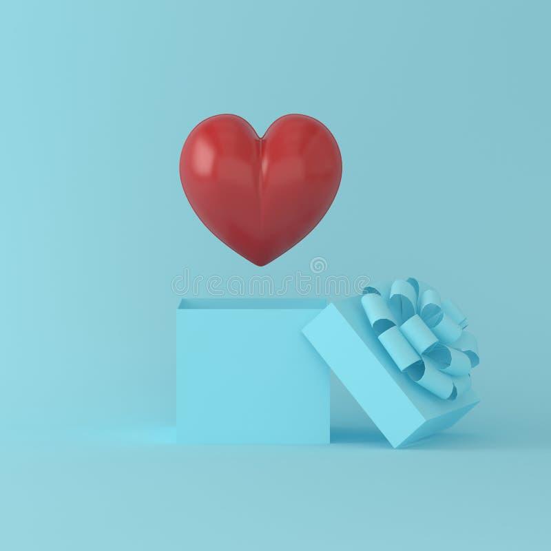Выдающий красный поплавок сердца на подарочной коробке на голубом пастельном backgro иллюстрация вектора
