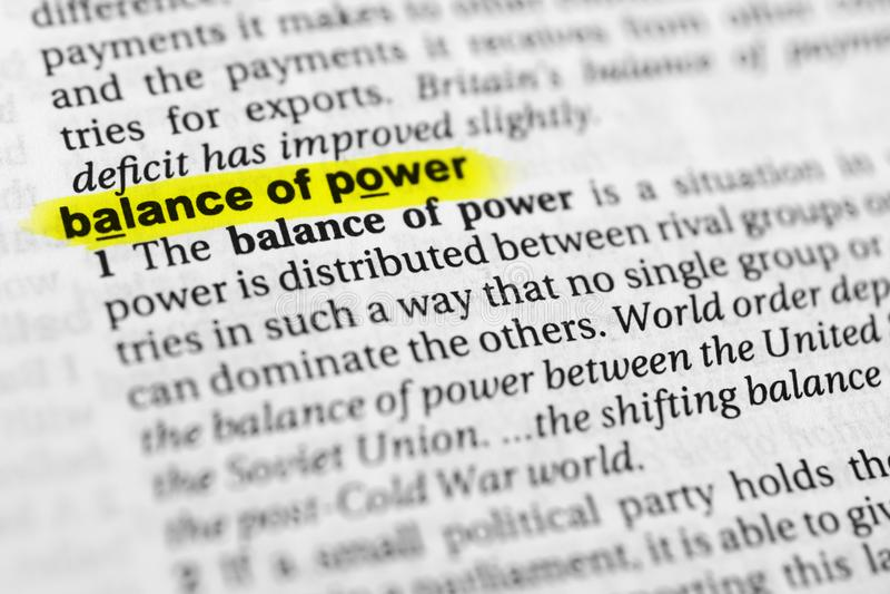 Выделенное английское ` равновесия сил ` слова и свое определение в словаре стоковое изображение