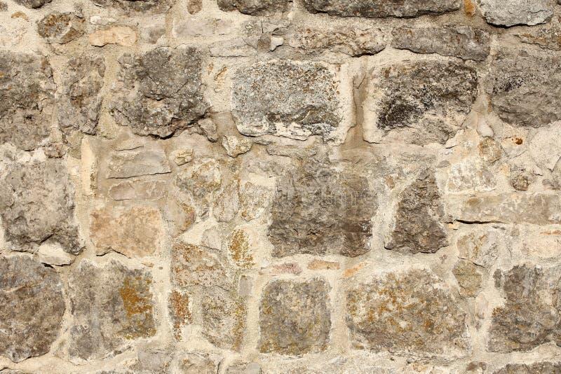 Выдержанная стена fieldstone с лишайниками в солнечном свете стоковая фотография rf