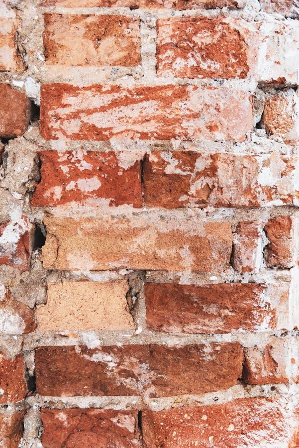 Выдержанные кирпичом предпосылка или текстура стены grunge стоковая фотография