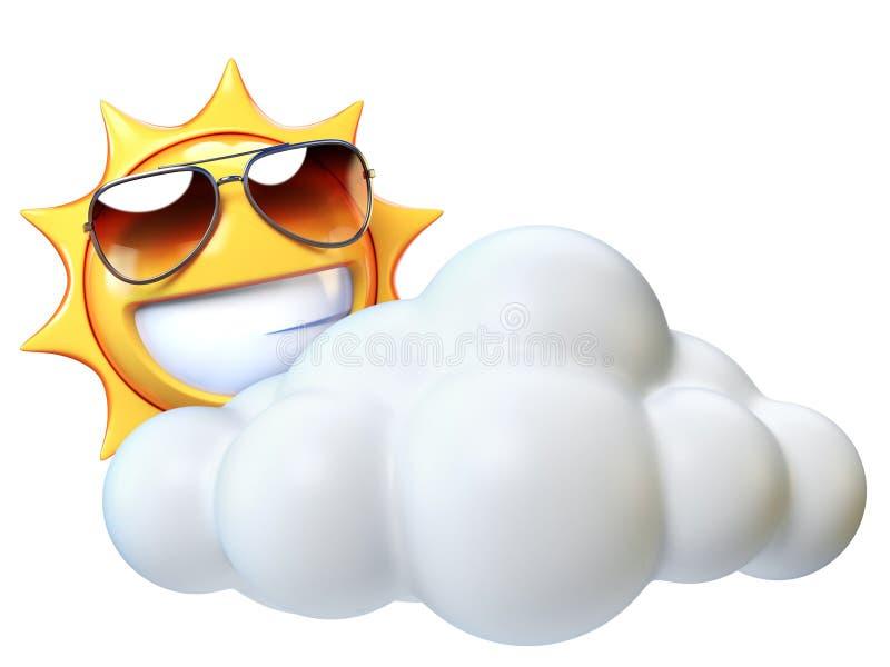 Выдержите значок солнечный с облаками, emoji солнца с облаком шаржа иллюстрация штока