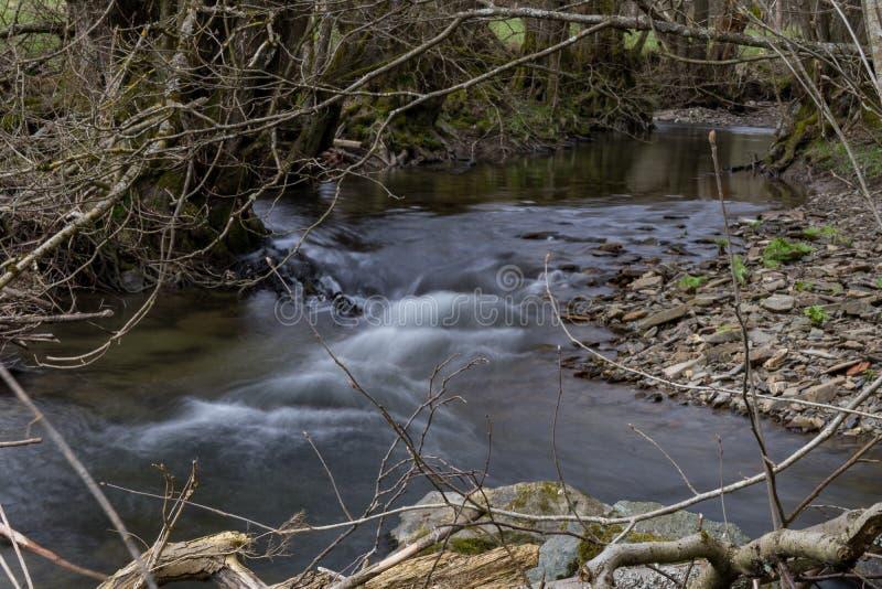 Выдержка времени реки Orke в немецком Rothaargebirge стоковое фото