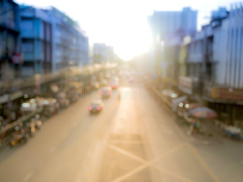 Выдержка высоты и blured дорога города стоковые фотографии rf