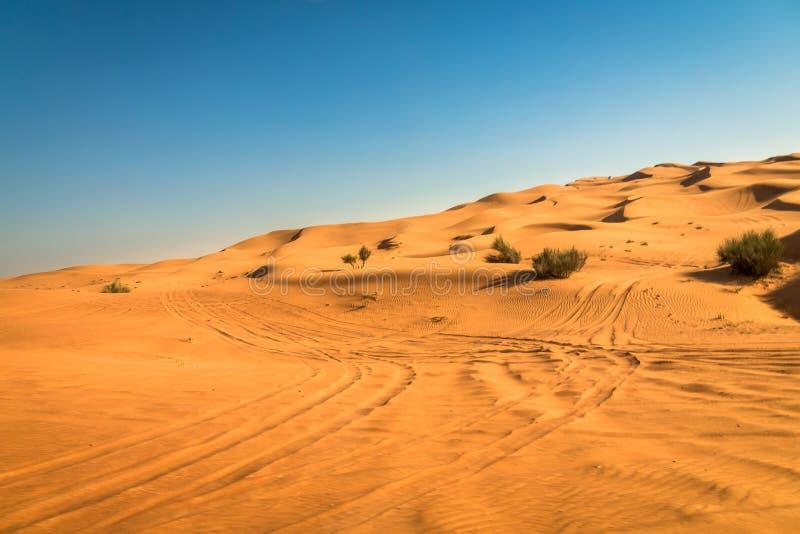 Выдержка захода солнца пустыни около Дубай, Объединенных эмиратов стоковое фото
