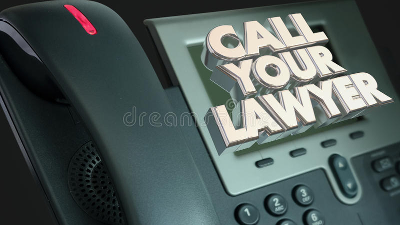 Вызовите вашего юриста законным телефоном Сью тяжбы помощи иллюстрация вектора