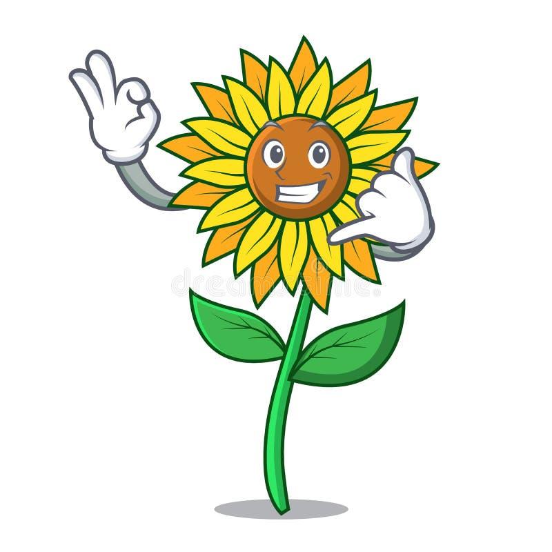 Вызовите меня стилем шаржа талисмана солнцецвета бесплатная иллюстрация