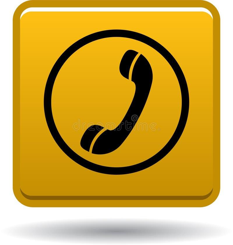 Вызовите нас значком сети кнопки золотой иллюстрация вектора