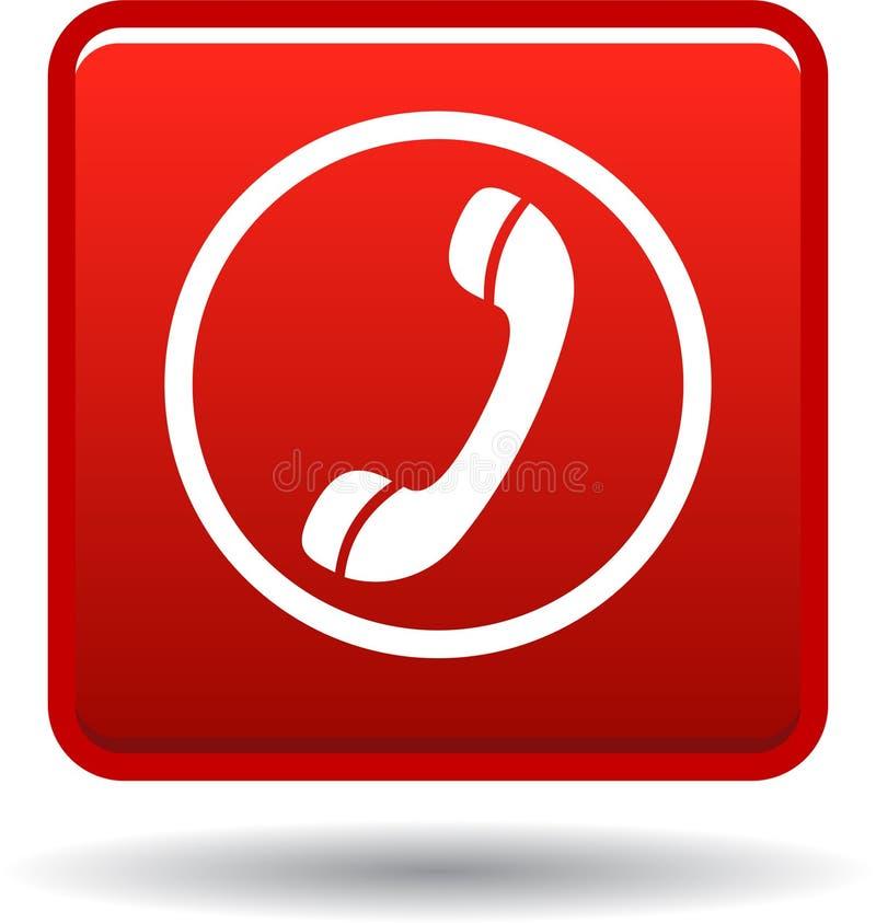 Вызовите нас красным цветом значка сети кнопки иллюстрация вектора
