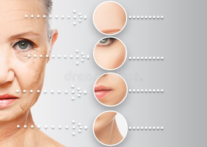 Вызревание кожи концепции красоты против старения процедуры, подмолаживание, поднимающся, затягивать лицевой кожи стоковое фото rf