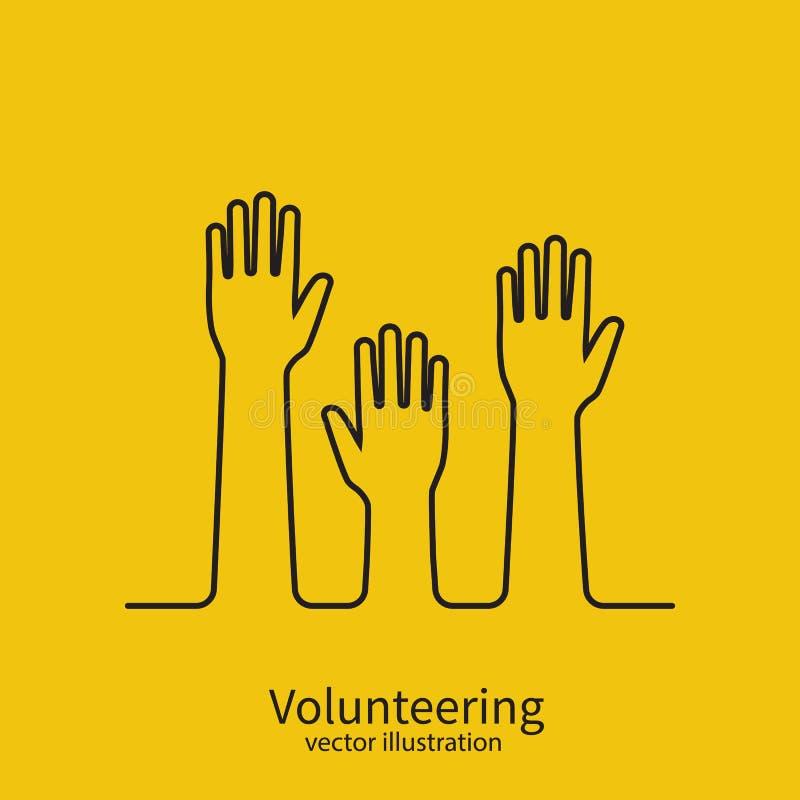 Вызываться добровольцем линия дизайн концепции минимальная черная бесплатная иллюстрация