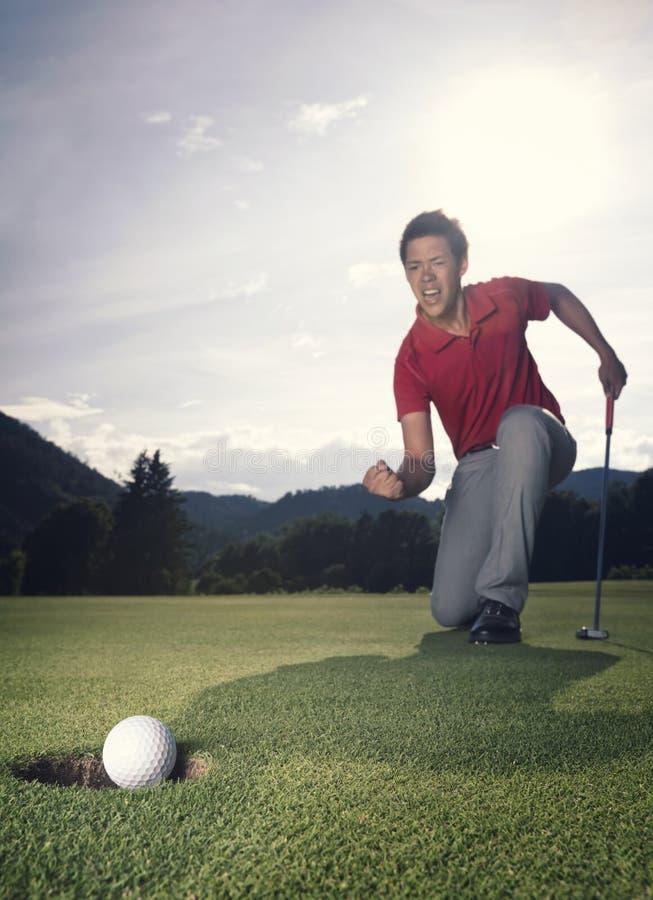 выигрывать игрока в гольф стоковые изображения