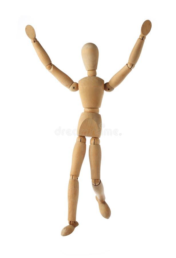 Выигрывать и отделка куклы манекена старые деревянные действуя изолированный стоковая фотография rf