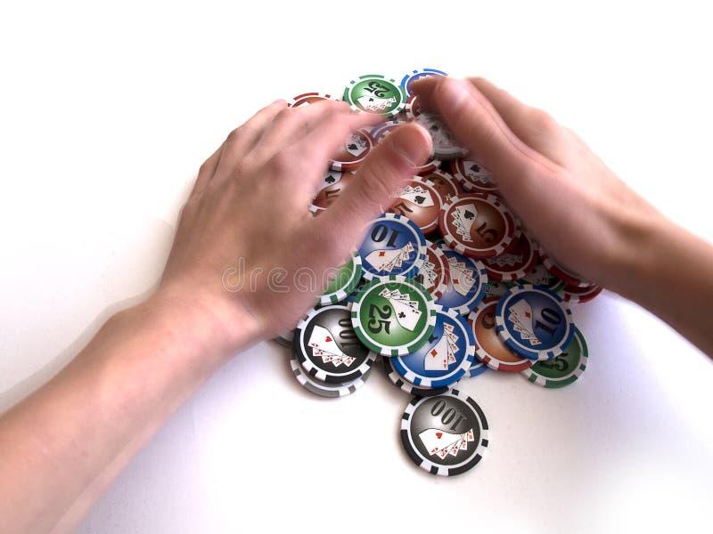 выигрывать покера человека обломоков стоковое изображение