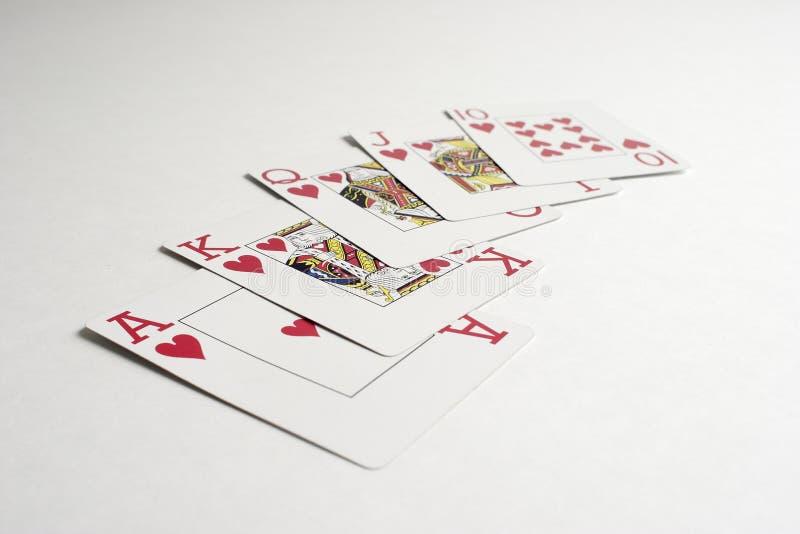 выигрывать полного покера руки королевский стоковое изображение rf