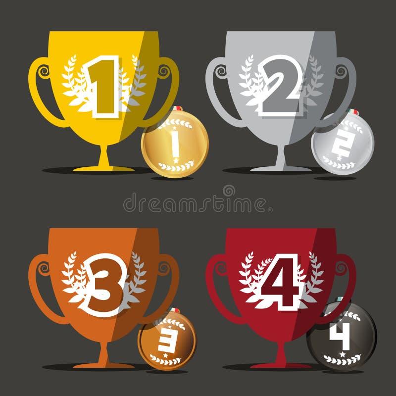 Выигрывая чашки установленные медали бесплатная иллюстрация
