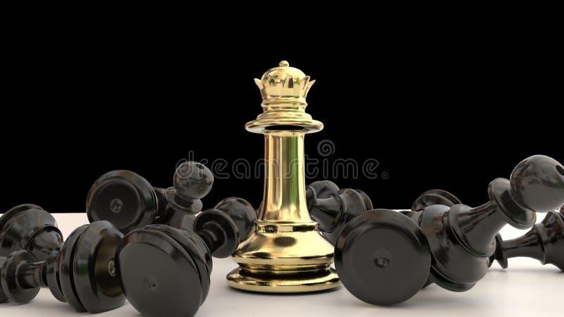 Выигрыши ферзя золотые в шахматах черные пешки победитель - перевод 3d иллюстрация штока