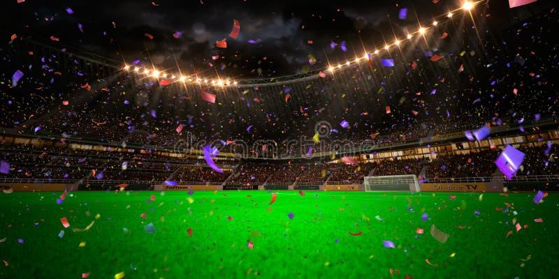 Выигрыш чемпионата футбольного поля арены стадиона ночи стоковые фотографии rf