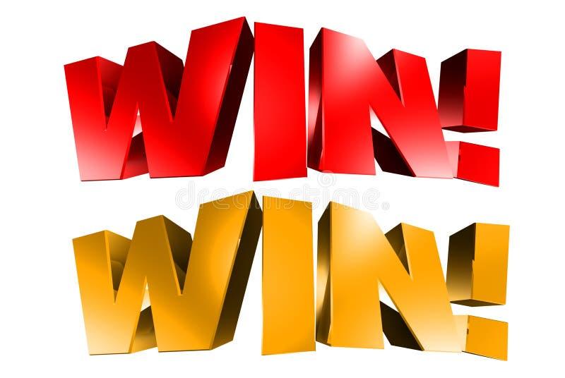 Выигрыш 3D красный и золото иллюстрация вектора