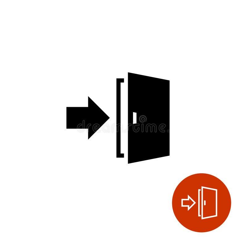 Выйдите значок с символами двери и стрелки иллюстрация вектора