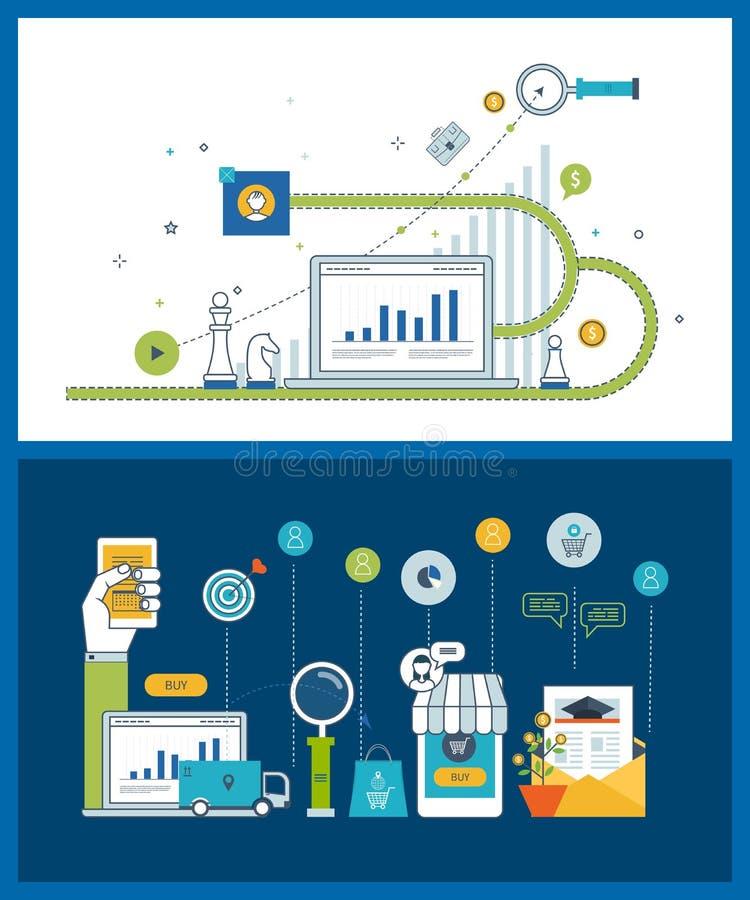 Выйдите анализ стратегии, исследования в области маркетинга, аналитика дела и концепцию вышед на рынок на рынок планирования бесплатная иллюстрация