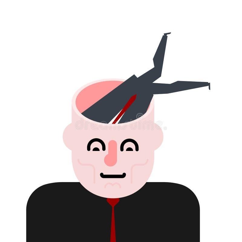 Выкапывать в голове Вползите в мозг Раскройте головку иллюстрация вектора