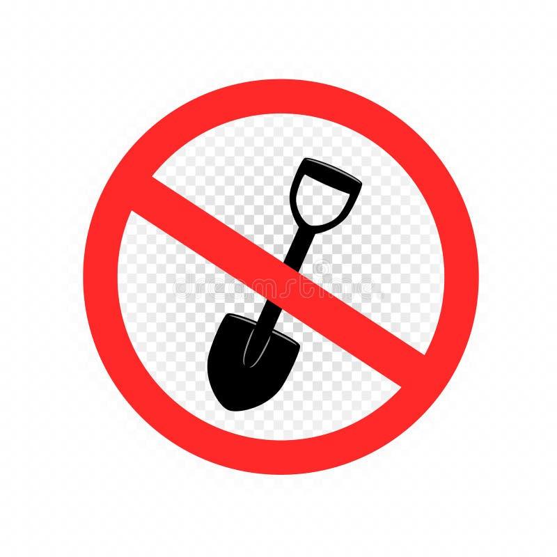 Выкапывать запрещенный значок знака иллюстрация вектора