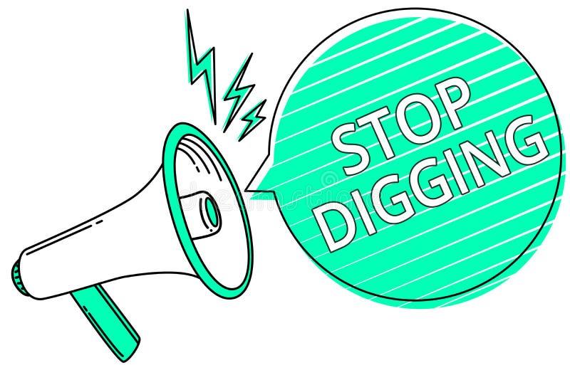 Выкапывать стопа сочинительства текста почерка Смысл концепции предотвращает противозаконное loudsp мегафона консервации окружающ иллюстрация вектора