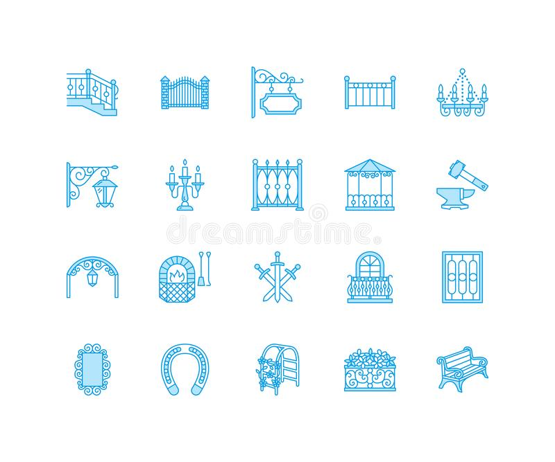 Выкованные металлические продукты, линия значки художнического вектора вковки плоская Кузнец, загородка окна, строб, перила, сад иллюстрация вектора