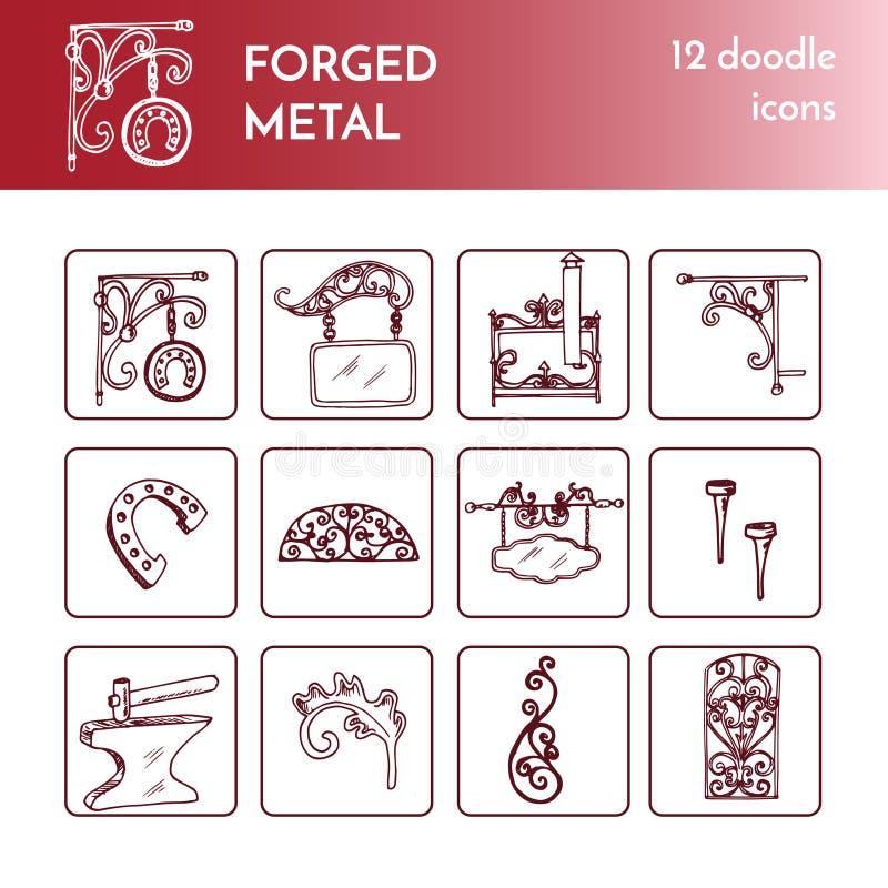 Выкованные металлические продукты, художнические doodles вковки Иллюстрация изолированная вектором на белой предпосылке иллюстрация вектора