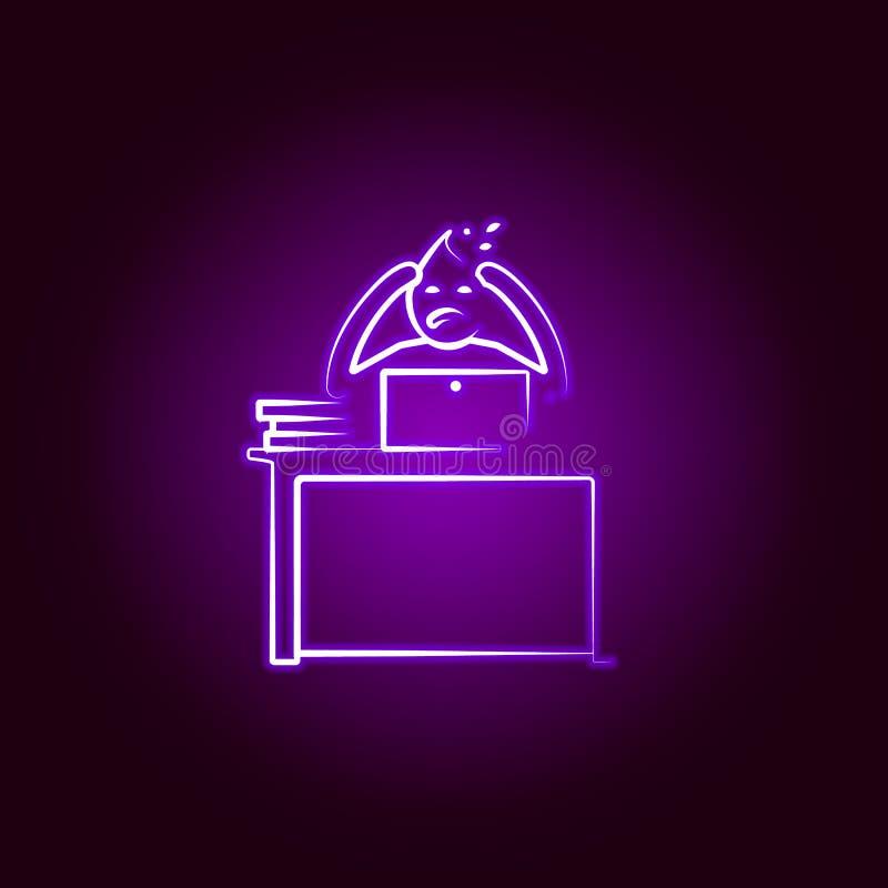 Выкрик человека офиса много линия значок работы в неоновом стиле Элемент иллюстрации жизни офиса r иллюстрация вектора