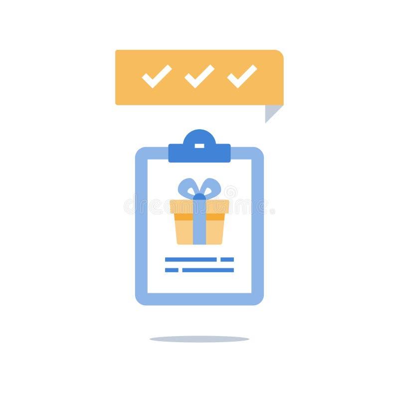 Выкупите подарок, программу преданности, заработайте вознаграждение, присутствующую коробку и доску сзажимом для бумаги иллюстрация вектора