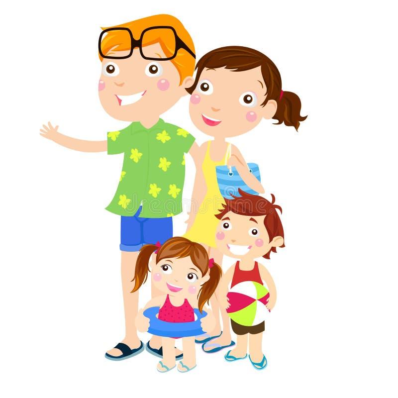 Вылазка семьи на пляже бесплатная иллюстрация