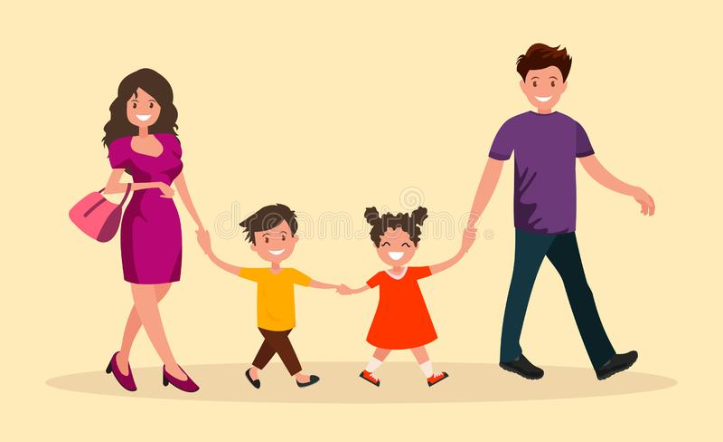 Вылазка семьи Сын и дочь мамы папы идут рука об руку иллюстрация штока