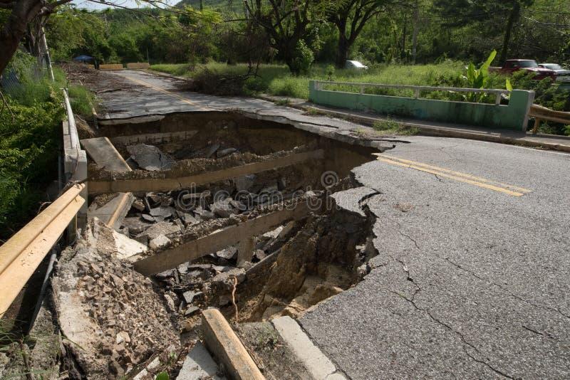 Вымоина на дороге Пуэрто-Рико в Caguas, Пуэрто-Рико стоковое изображение rf