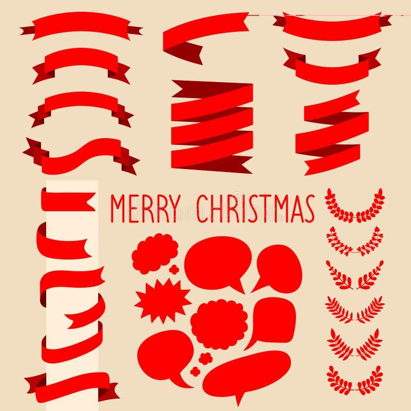 Вымолите комплекту вектора красных лент, лавров и пузырей речи и отправьте СМС с Рождеством Христовым в плоском стиле иллюстрация штока