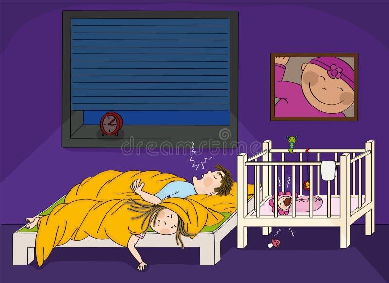 Вымотанные женщины имея тревогу с ее супругом храпя и ее плача младенца иллюстрация вектора
