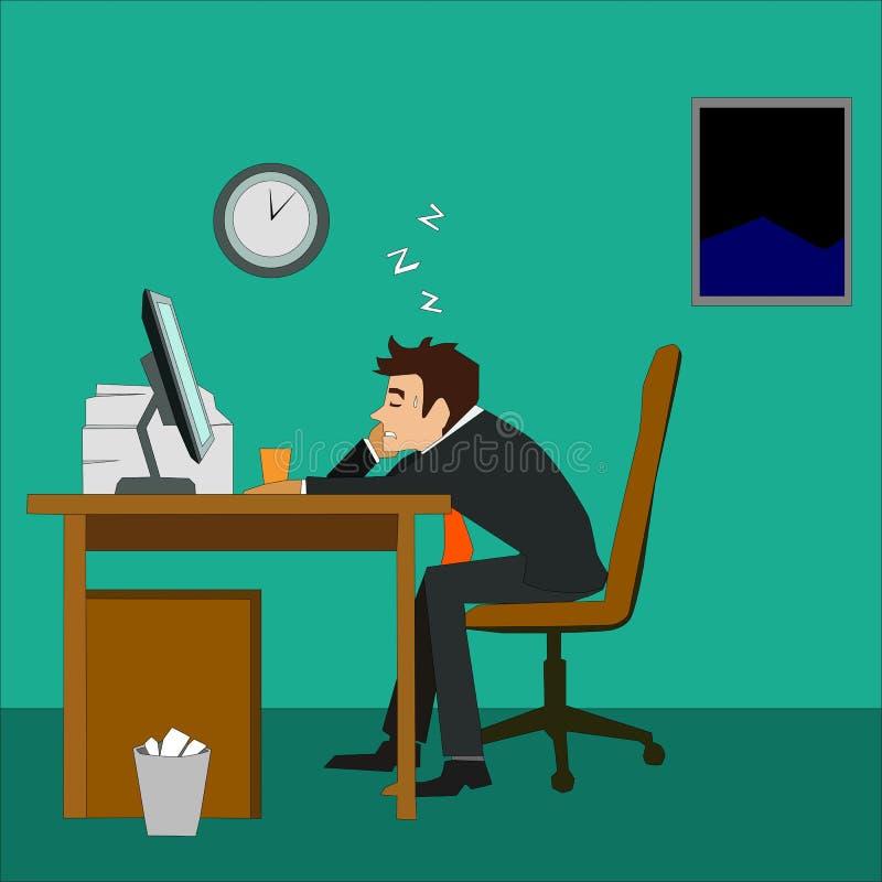 Вымотанный бизнесмен спать на столе в офисе бесплатная иллюстрация