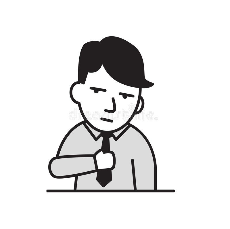 Вымотанный молодой бизнесмен Плоский значок дизайна Плоская иллюстрация вектора белизна изолированная предпосылкой бесплатная иллюстрация