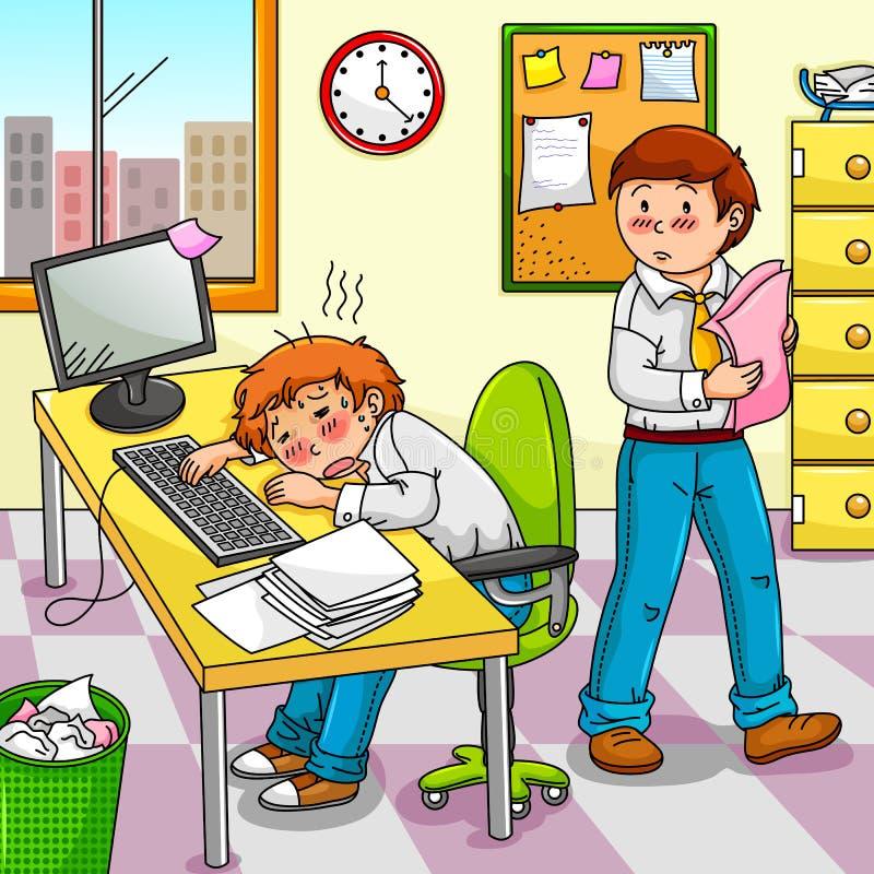 вымотанный работник иллюстрация вектора